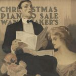 Christmas piano sale, affiche, 1909