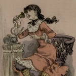 """La """"cour téléphonique"""" vue par Albert Robida, 1883"""