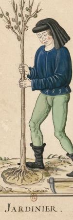 Un jardinier, dessin, 15e siècle