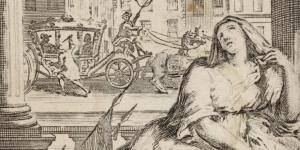 Une femme éplorée appuie la main sur l'écusson de France (dans le fond, l'assassinat de Henri IV)