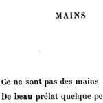 """Paul Verlaine, """"Mains"""", Parallèlement, 1889"""