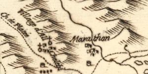 Carte de Marathon et Ramnus par d'Anville, 1770
