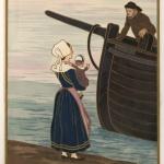 Paysage breton : bateaux et pêcheur, 1901