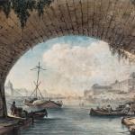 Victor Jean Nicolle,Vue du Louvre prise sous une arche du Pont Neuf, 18e siècle