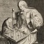 Charles David, Jeune femme jouant aux dames avec un singe , 17e siècle