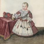 Portrait d'un enfant portant une ceinture de jouets, 14e siècle