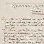 Le manuscrit de Rousseau juge de Jean-Jacques