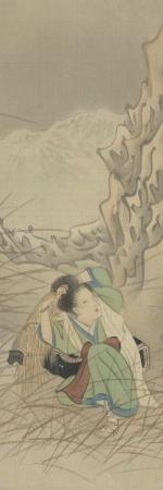 Manuscrit japonais à peintures, 19e siècle