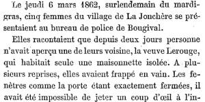 Premières de l'affaire Lerouge, 1866