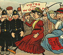 Votes for women, carte postale, Grande-Bretagne, 1910<br>============================
